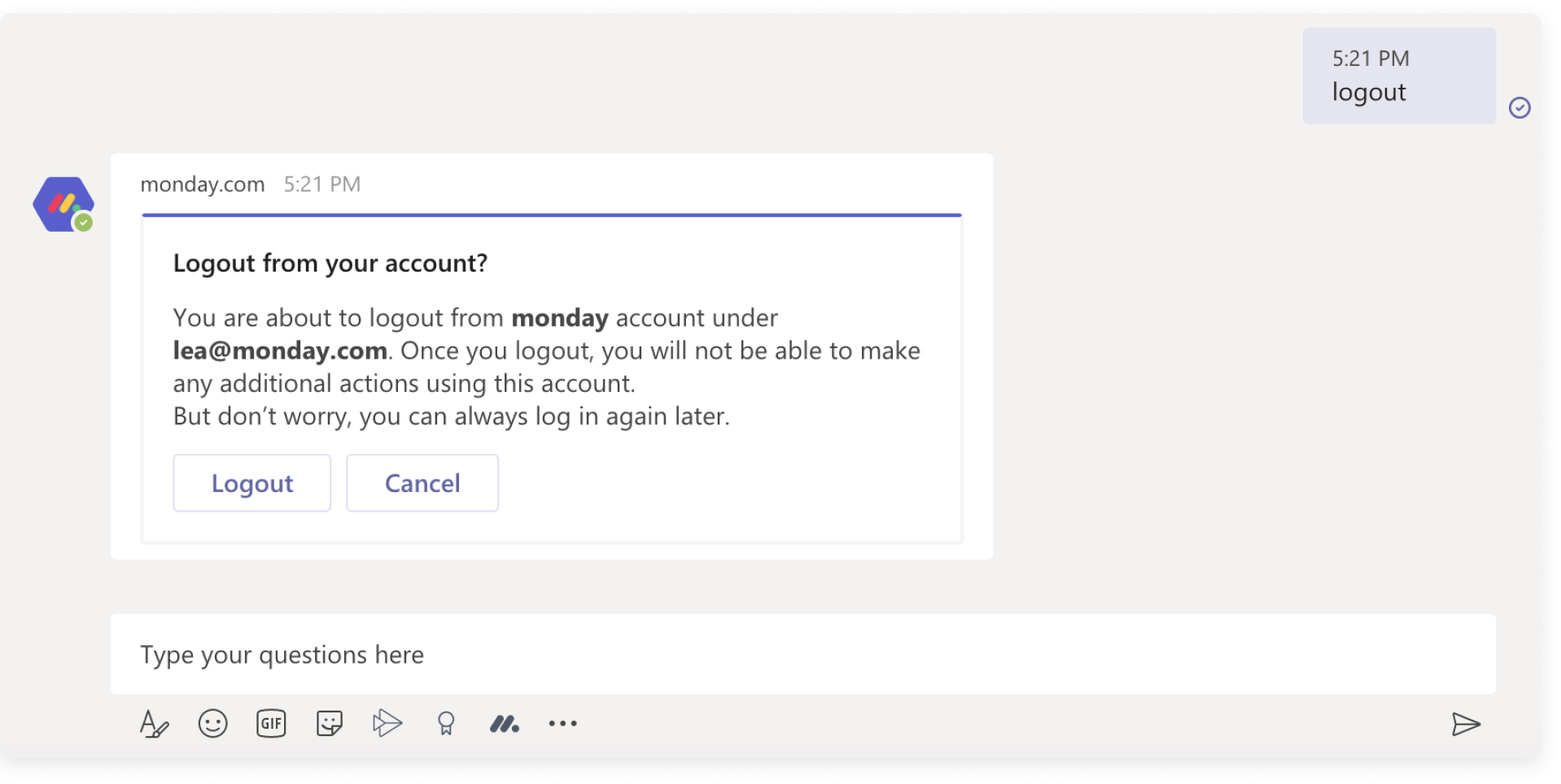 15. Notifikaatio tiliä vaihtaessa tai ulos kirjautuessa - Microsoft Teams - monday.com integraatio